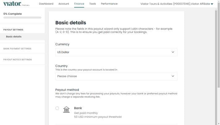 Adding payout details-Step 2