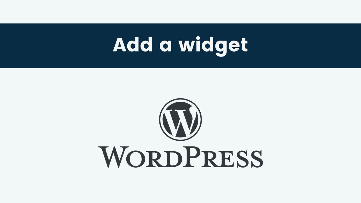 Add widget wordpress website