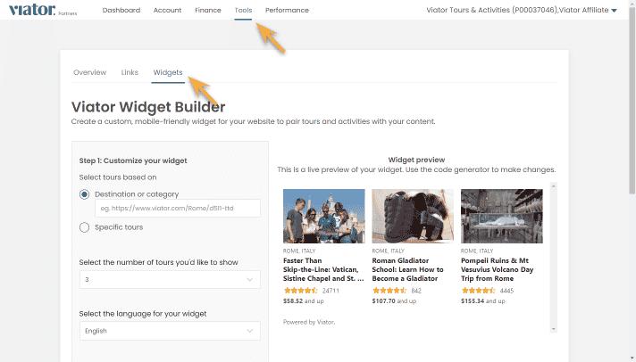 widget builder in account