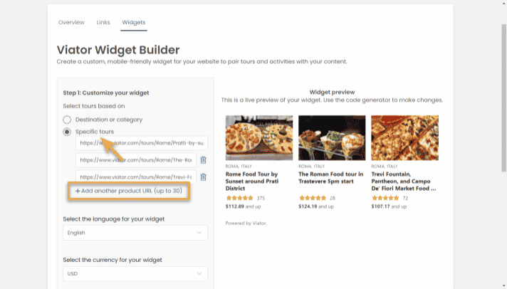 widget builder - specific tours - step 2