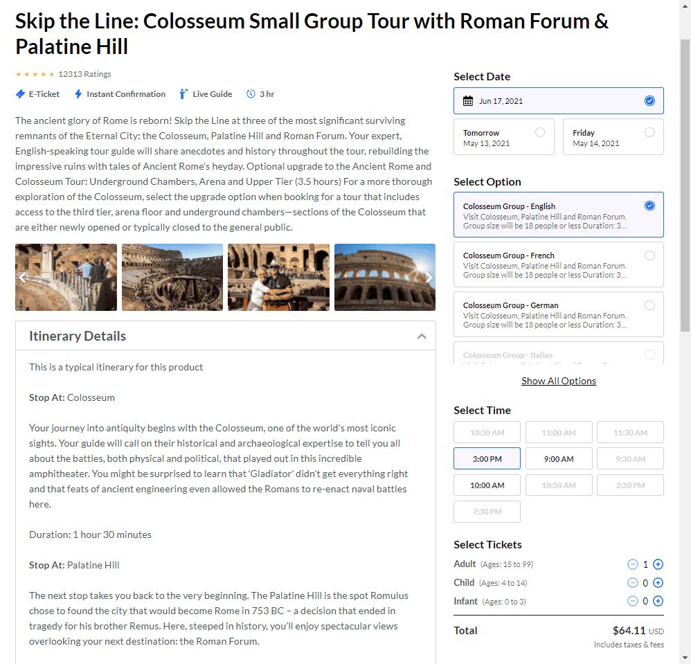sample PDP from placepass - skip the line colosseum small group tour